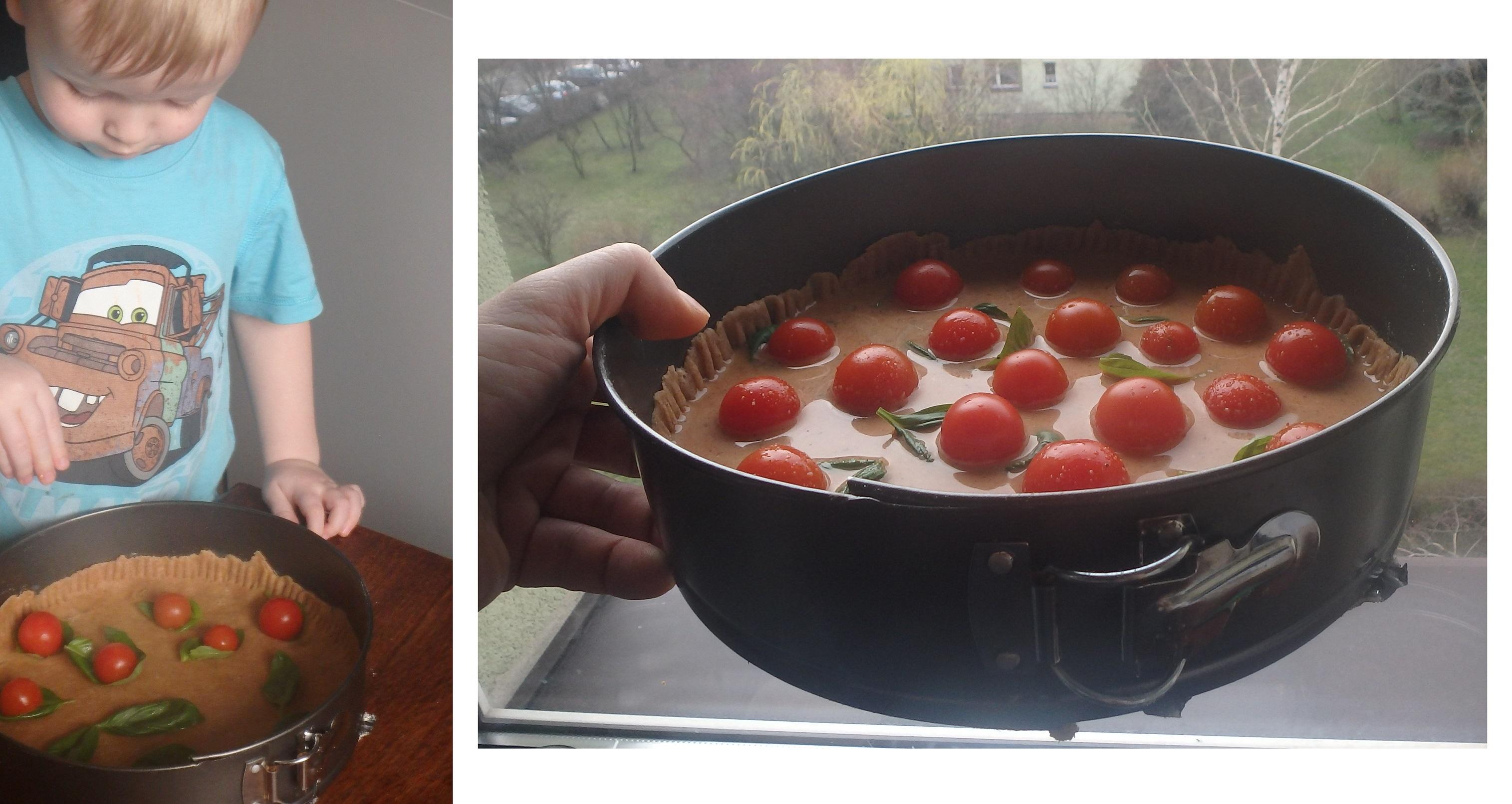tarta z bazylią i pomidorami